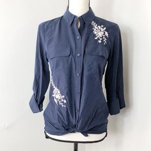 Express Tops - NWT Express Blue Floral Embroidered Button Down